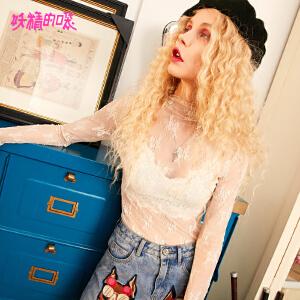 【尾品汇大促】妖精的口袋蕾丝上衣秋装2018新款通勤洋气小衫甜美修身雪纺衫女