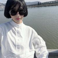 ins超火的快手同款衬衫女长袖秋上衣学生韩版泡泡袖棉麻衬衣显瘦