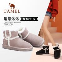 骆驼女鞋2019新款加绒厚底冬靴子女平底短靴防滑户外短筒雪地靴女