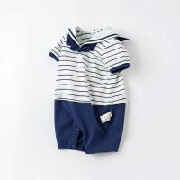 戴维贝拉童装男宝宝连体衣2021夏装新款婴儿外出爬服新生儿海军风