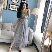 韩版甜美仙女裙小香风2018新款性感抹胸针织亮片上衣十网纱裙套装
