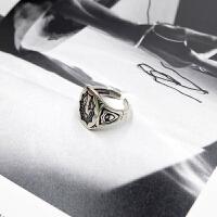 ?设计师款S925纯银复古泰银玛丽亚戒指时尚做旧开口个性简约指环 玛利亚戒 一只