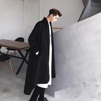 新款呢大衣男士韩版宽松中长款上衣男装冬季个性暗黑日系简约范外