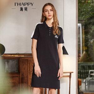 海贝2018春季新款女装 黑色印花polo领短袖套头T恤衫中长款连衣裙