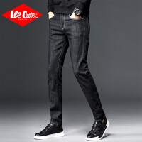 Lee Cooper秋冬男士英伦弹力直筒裤青年修身小脚裤新款韩版长裤牛仔裤男
