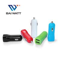 BAI WATT 一分二双USB汽车车充车载充电器一拖二点烟器插头手机电源头