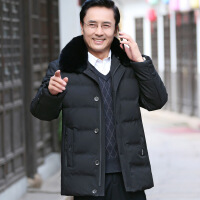 爸爸冬装外套中年男士中长服加厚款中老年人冬季90