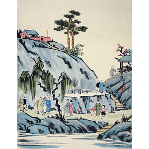 丰子恺 著名书画家、美术教育家《郊游》(老纸)