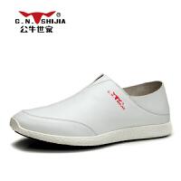 公牛世家 男鞋时尚商务休闲鞋牛皮鞋套脚透气皮鞋懒人鞋888177