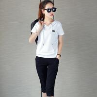 运动休闲套装女夏 跑步女士运动服夏天色薄短袖两件套短裤学生