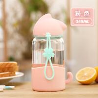 玻璃杯女学生儿童可爱韩版个性创意潮流简约水杯花茶便携随手杯子提绳带盖 340ml