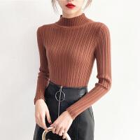 针织衫套头加厚女士修身打底衫长袖百搭半高领保暖毛衣女秋冬新款