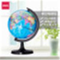 得力3035地球仪高清高中学生用摆件大号世界地理教学儿童32cm书房 办公大号世界地图地球仪