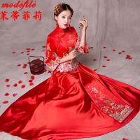秀禾服 女士红色嫁衣结婚上轿敬酒演出中式婚纱晚礼服女式复古新娘立领长款婚庆时尚女装