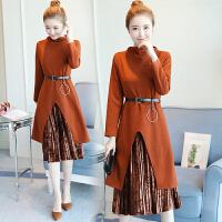 秋装连衣裙两件套装修身显瘦开叉针织裙喇叭袖气质压褶女裙