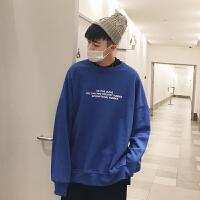 新款卫衣男生宽松套头圆领字母印花长袖韩版潮流学生青少年嘻哈街