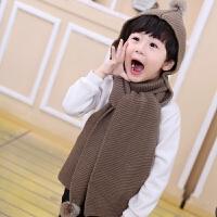 秋冬保暖韩版一体套装男女童宝宝可爱毛球毛线帽子围巾儿童两件套