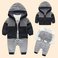 6-12个月宝宝春装男0一1岁英式婴儿衣服潮款新生儿套装儿童连体衣