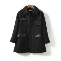 Lee Cooper秋冬新品女士纯色翻盖袋长袖翻领休闲女款优雅毛呢大衣