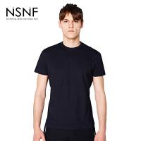 NSNF夜光LOGO运动打底黑色圆领T恤男修身 修身圆领针织短袖 短袖t恤男装2017新款