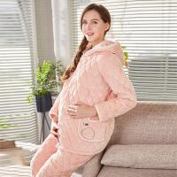 冬季夹棉睡衣女冬孕妇怀孕期珊瑚绒三层加厚保暖法兰绒家居服套装