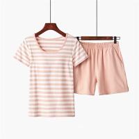 带胸垫短袖家居服套装女夏罩杯一体免文胸条纹睡衣短裤两件套