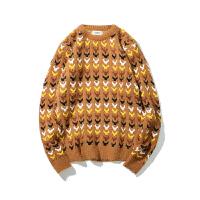 秋冬季新款圆领套头花毛衣韩版男士拼色宽松休闲针织衫毛线衣潮流