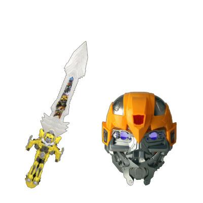 六一节发光面具玩具刀剑套装奥特曼铠甲勇士美国队长男孩玩具 发光大黄蜂面具+剑 发货周期:一般在付款后2-90天左右发货,具体发货时间请以与客服协商的时间为准