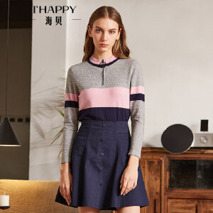 海贝2018春季新款女装上衣 简约立领拼色长袖修身套头衫针织衫