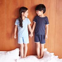 儿童睡衣男童空调服女童短袖睡衣夏季薄款纯棉内衣宝宝家居服套装