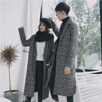 新款呢子大衣男2018冬季潮流复古格子毛呢外套中长款宽松情侣呢风
