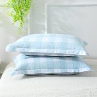 当当优品对装枕罩 纯棉200T加密斜纹枕罩48x74cm 锦尚(蓝)