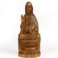 实木质绿檀木雕佛像摆设红木工艺品 实木质莲花观音菩萨风水摆件