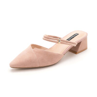 星期六(ST&SAT)2019春季专柜同款绒面羊皮革尖头粗跟时尚穆勒拖鞋SS91110316