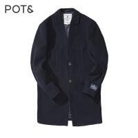 短顺假平驳领两粒扣长梭织大衣
