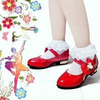 儿童鞋中大红白小女童黑色皮鞋公主鞋春秋单鞋学生演出鞋