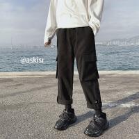 加厚呢子休闲裤韩版冬季多口袋工装裤子男士宽松ulzzang潮牌长裤