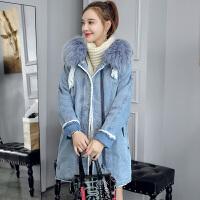 中长款棉衣外套女秋冬装2018韩版仿羊羔毛加厚牛仔高中学生 蓝色
