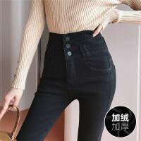 Lee Cooper新款加绒保暖女裤子高腰时尚修身牛仔裤女