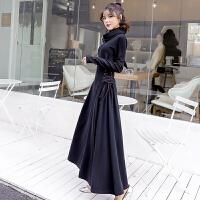 赫本小黑裙过膝连衣裙加厚秋冬新款收腰显瘦修身长袖女裙子