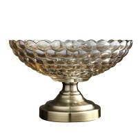 创意水果盘果盆现代客厅摆件 欧式奢华家用客厅茶几锌合金装饰品