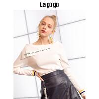 【清仓3折价98.7】Lagogo/拉谷谷2019秋季新款刺绣简约针织衫HCMM418A25