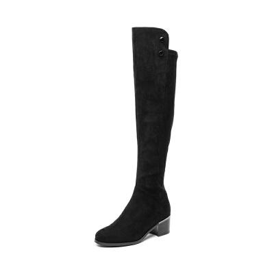 星期六(ST&SAT)冬季专柜同款织物粗低跟过膝长靴SS84117132