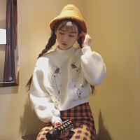 秋冬韩版半高领宽松花朵刺绣加绒加厚短款套头卫衣学生毛绒上衣女