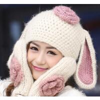 可爱毛线贝雷帽子 大兔子耳朵复古花朵 冬季女款