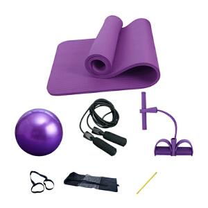 物有物语 瑜伽带 瑜伽垫四件套装 瑜伽垫10mm两股拉力器黑色跳绳普拉提球质量轻体积小携带方便瑜伽四件套装瑜伽用品