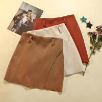 韩版冬季新款女拼接纯色显瘦通勤OL气质短裙毛呢半身裙 LY18322