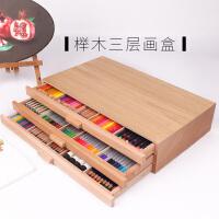 榉木三层抽屉画盒画板 绘画工具箱颜料盒笔盒工具盒