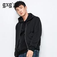 gxg.jeans男装秋季修身潮流黑色简约休闲棒球服夹克外套63921006