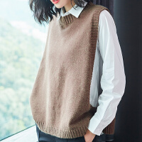 女背心春女式马甲短款韩版宽松套头显瘦百搭针织毛衣马夹坎肩外套